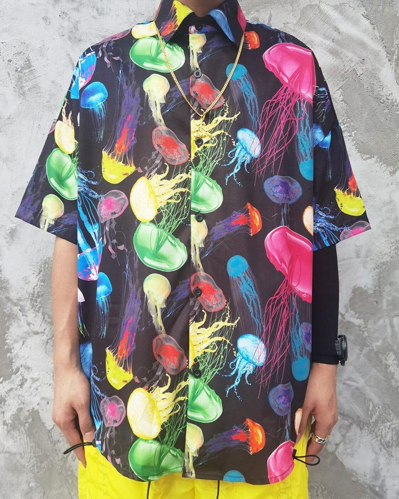 《2色》ネオンカラークラゲ半袖シャツの画像1